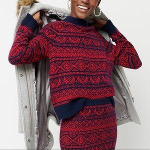J. Crew Cheerful Fair Isle Mockneck Sweater